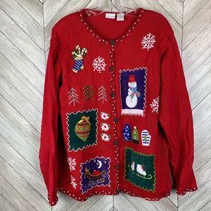 Vintage Christmas sweater cardigan